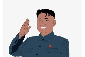 Caricature character illustration of Kim Jong Un