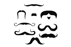 Set of mustache on white background, vector illustration