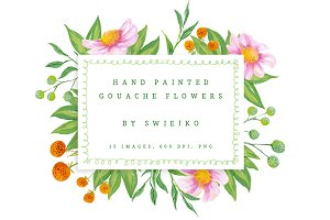 Gouache Flowers clipart set