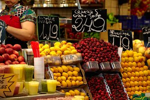Fruit market in Barcelona Spain