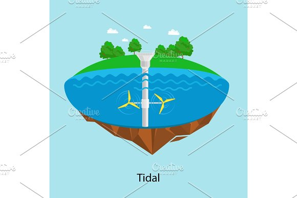 Tidal Turbines Power Plant And Factory Green Aqua Energy Industrial Concept Vector Illustration In Flat Style Water Electricity Station Icon Renewable Energy Sources