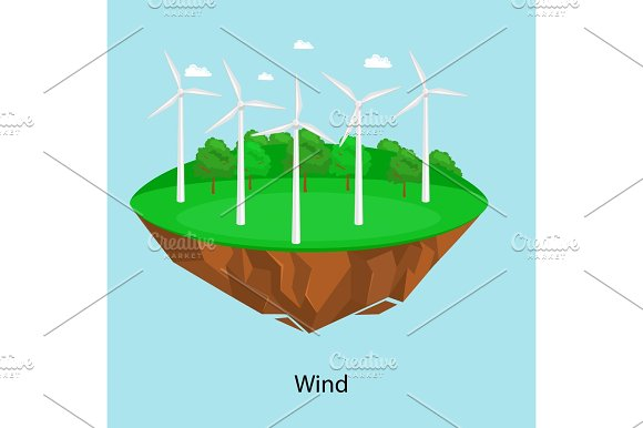 Alternative Energy Power Wind Electricity Turbine Field On A Green Grass Ecology Concept Technology Of Renewable Windmill Station Vector Illustratin