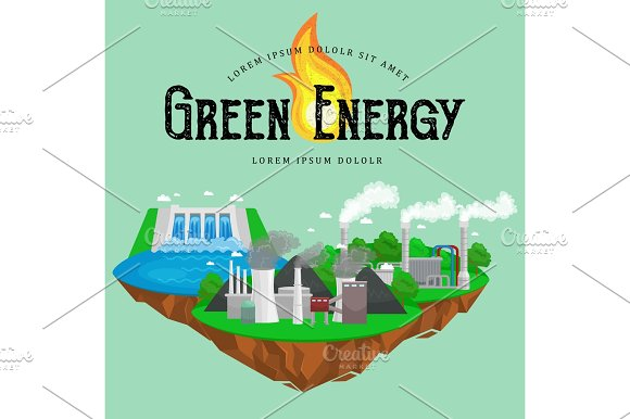 Concept Of Alternative Energy Green Power Environment Save Renewable Turbine Energy Wind And Solar Ecology Electricity Ecological Industry Vector Illustration