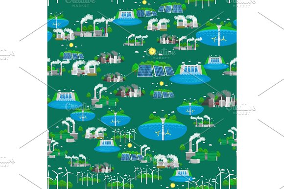 Seamless Pattern Alternative Energy Green Power Environment Save Renewable Turbine Energy Wind And Solar Ecology Electricity Ecological Industry Vector Illustration