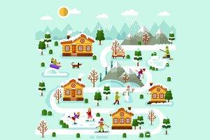 Winter Ski Resort Map