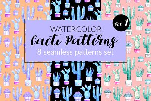 Watercolor Cacti Patterns Set Vol. 1