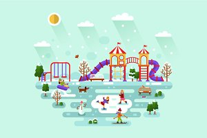 Playground Winter Illustration