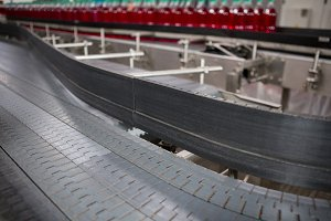 Conveyor belt in cold drink factory