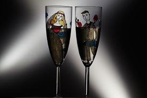 Wedding champagne glasses. Vintage.