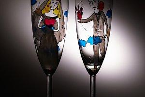 Empty wedding champagne glasses