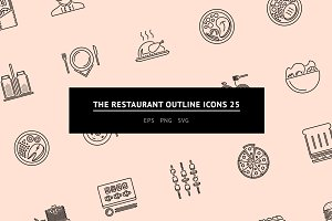 The Restaurant Outline Icons 25