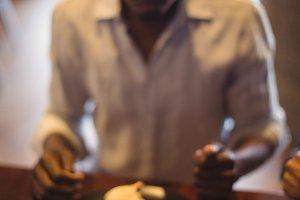 Man having meal