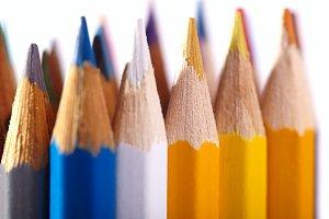 Pencils. Macro shot isolated white