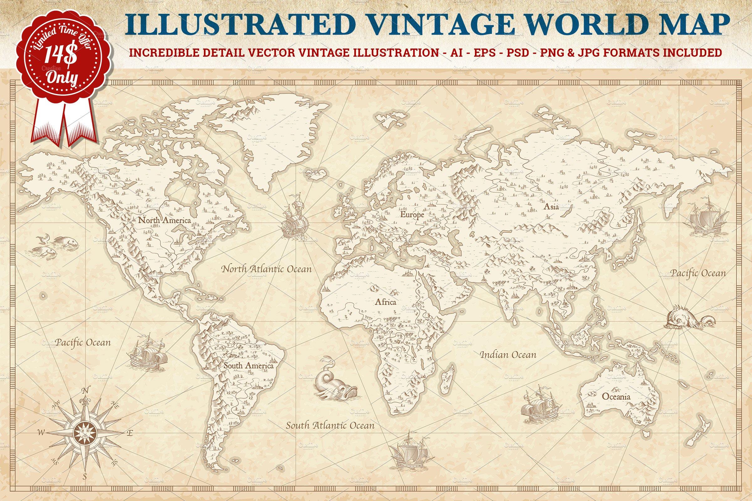 Vintage vector world map illustrations creative market gumiabroncs Gallery