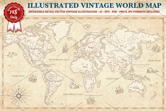 Vintage vector world map illustrations creative market gumiabroncs Choice Image