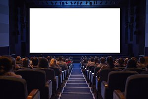 White cinema screen with audience