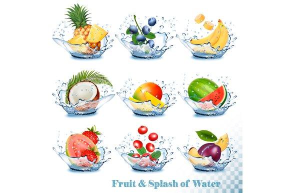Fruit In A Water Splash Vector