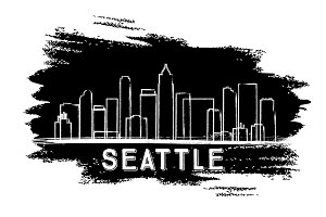 Seattle Skyline Silhouette.