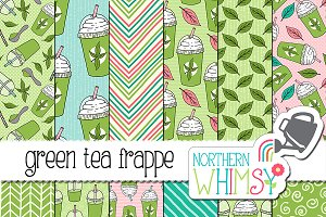 Green Tea Frappe Seamless Patterns