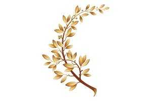 Vector illustration contains the image of gold laurel branch