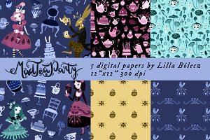 Mad Tea Party - Alice Digital Papers