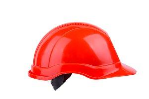 Orange construction helmet