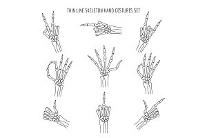 Vector linear skeleton hands gestures