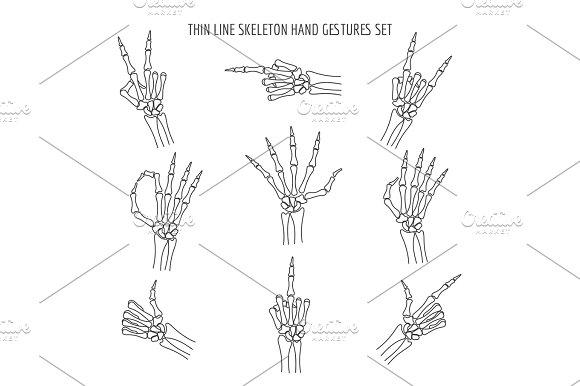 Vector linear skeleton hands gestures ~ Textures ~ Creative Market