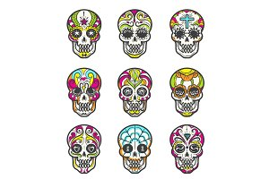 Colored sugar skull icons set