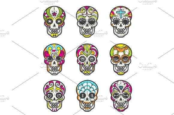 Colored Sugar Skull Icons Set