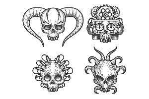 Hand drawn monsters skull set