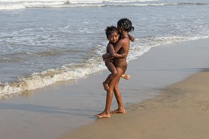 Сhildren on the Indian Ocean beach