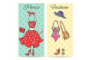 Paris fashion clothes cards