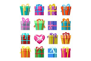 Gifts or presents boxes icocns set