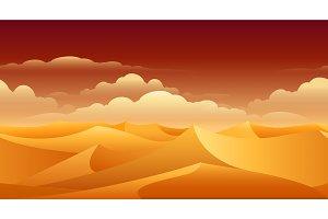 Sahara sand dunes panorama