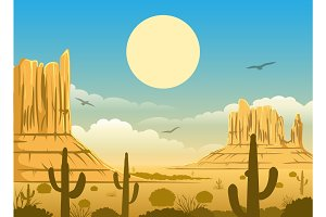 Mexican desert sunset background