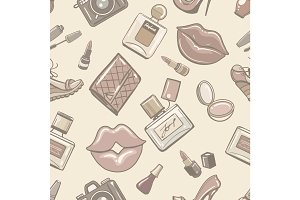 Vintage fashion female seamless pattern