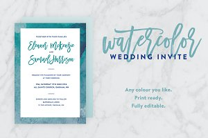 Watercolour Border Wedding Invite