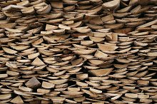 Structure of stacked wood boards.