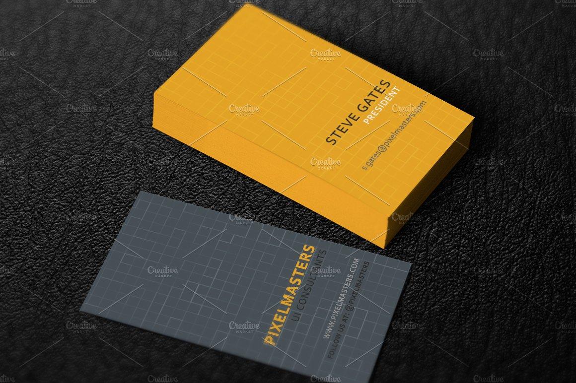 Pixel tech business card templates creative market colourmoves