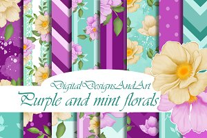 Flower digital paper pack