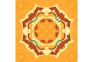 Seamless pattern tile with mandala in the center.Vintage decorative elements of brown colors.Hand drawn stylized flower.Islamic,Arabian, Indian, Ottoman, Persian motifs for printing on fabric or paper