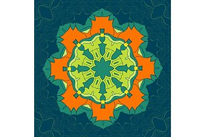 Green and Orange Vector Mandala. Decor for your design, lace ornament, round pattern with lots of details. Oriental style, stylized floral pattern on tiled background. Circle lace ornament. Coloring mandala
