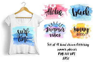 Summer lettering phrases set. Vector
