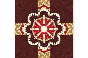 Seamless oriental ornamental pattern in brown color. Vector decorative background with stylized floral geometric ornament. Repeating geometric tiles based on indian mandala. Tibetian or Arabian motive