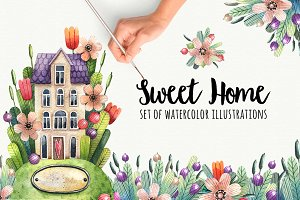Watercolor house in flowers