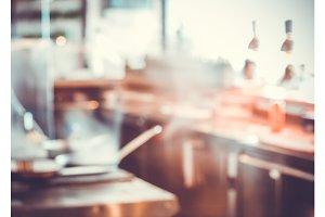 Blurred restaurant kitchen interior