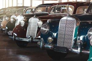 vintage retro Mercedes cars parking