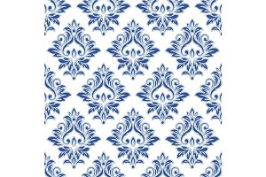 Abstract vintage seamless damask pattern