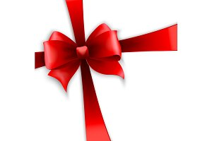 Invitation card with red holiday ribbon and bow